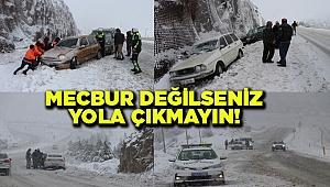 Denizli'de kar yağışı ulaşımı olumsuz etkiliyor