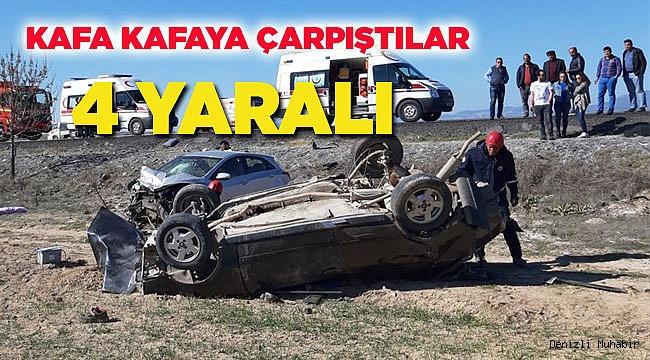 Denizli'de iki otomobil çarpıştı: 4 yaralı