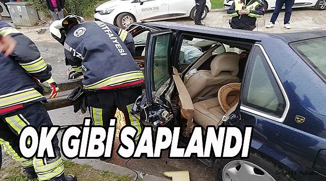 Denizli'de otomobil bariyere çarptı: 1 yaralı