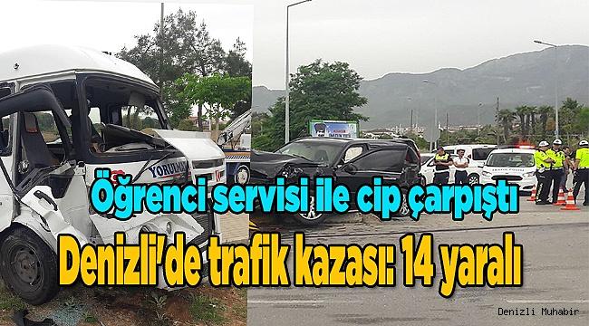 Denizli'de trafik kazası: 14 yaralı