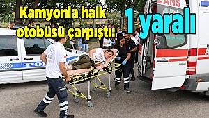 Denizli'de kamyonla halk otobüsü çarpıştı: 1 yaralı