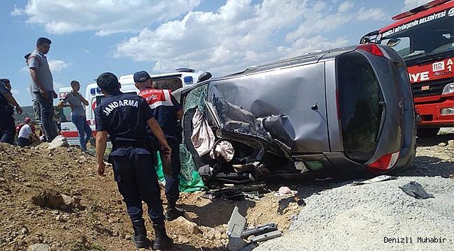Denizli'de otomobil devrildi: 1 yaralı