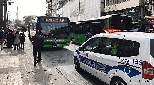 Denizli'de otobüsün çarptığı kadın yaralandı