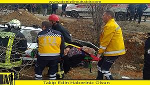 Denizli'de refüje devrilen otomobildeki iki kişiyi itfaiye kurtardı