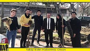 Sarayköy'de öğretmen ve öğrenciler okulları için kolları sıvadı
