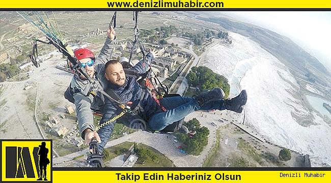 Yamaç paraşütüyle Pamukkale heyecanı