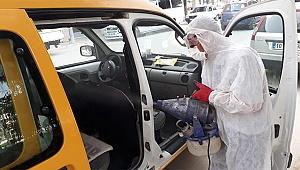 Sarayköy Belediyesi, taksileri dezenfekte etti