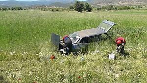 Takla atan aracın sürücüsü ve 1 kuzu yaralandı