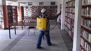 Buldan Halk Kütüphanesi dezenfekte edildi