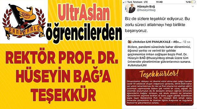 UltrAslan'lardan Rektör Bağ'a teşekkür mektubu