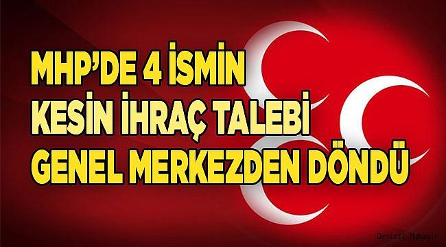 MHP'de 4 ismin kesin ihraç talebi genel merkezden döndü