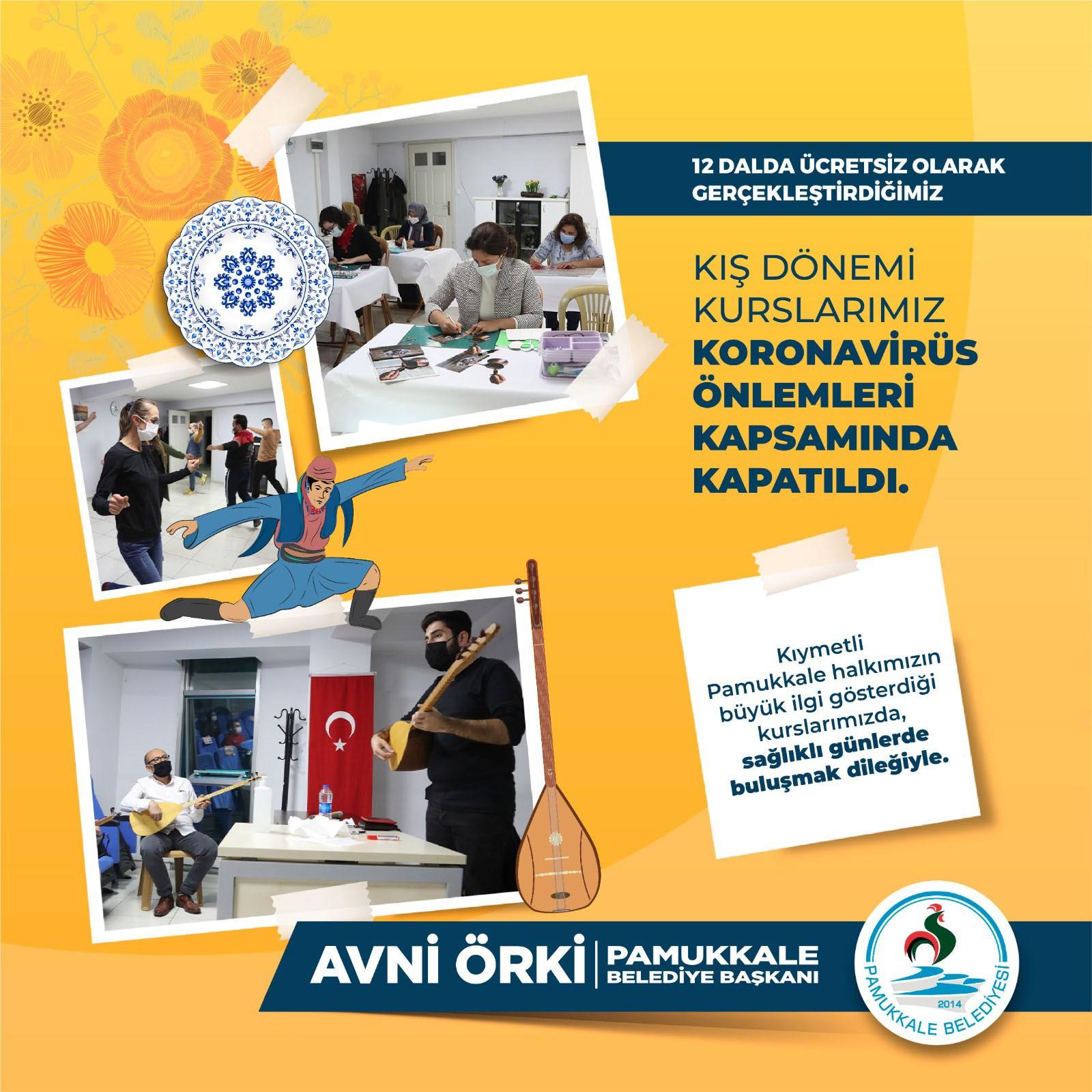 Tedbirler kapsamında Pamukkale Belediyesi kurslara ara verdi